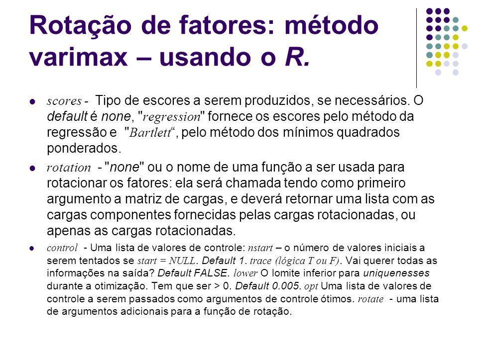 Rotação de fatores: método varimax – usando o R.