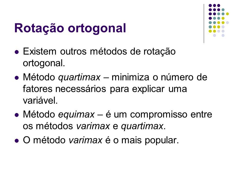 Rotação ortogonal Existem outros métodos de rotação ortogonal.