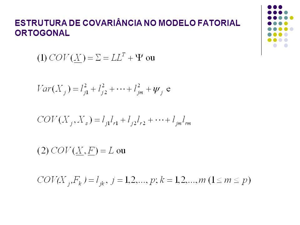 ESTRUTURA DE COVARIÂNCIA NO MODELO FATORIAL ORTOGONAL