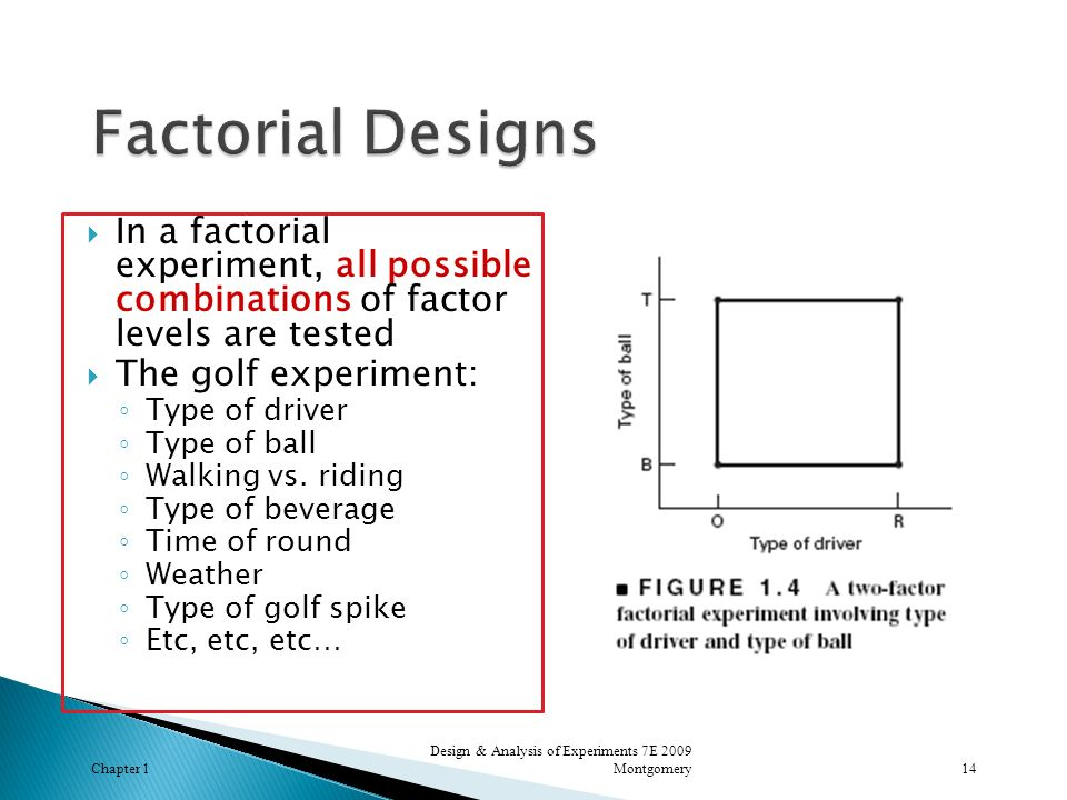 Factorial Designs In a factorial experiment, all possible combinations of factor levels are tested.