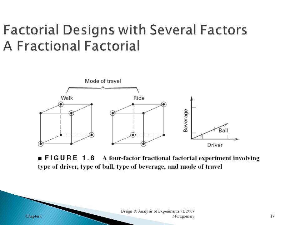 Factorial Designs with Several Factors A Fractional Factorial
