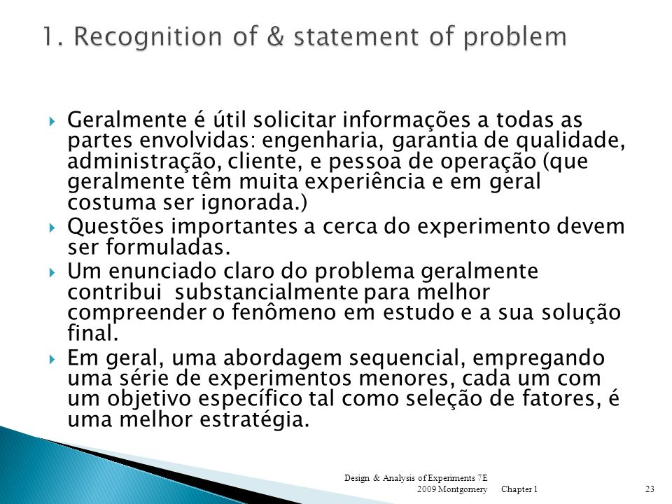 1. Recognition of & statement of problem