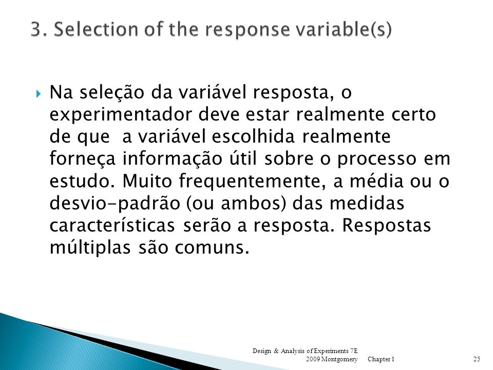 3. Selection of the response variable(s)