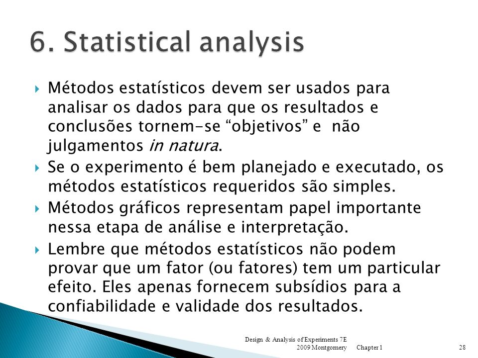 6. Statistical analysis