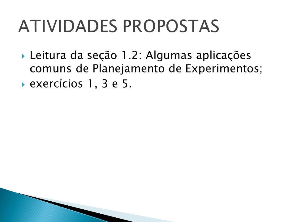 ATIVIDADES PROPOSTAS Leitura da seção 1.2: Algumas aplicações comuns de Planejamento de Experimentos;