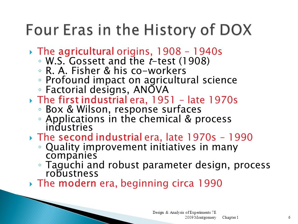 Four Eras in the History of DOX