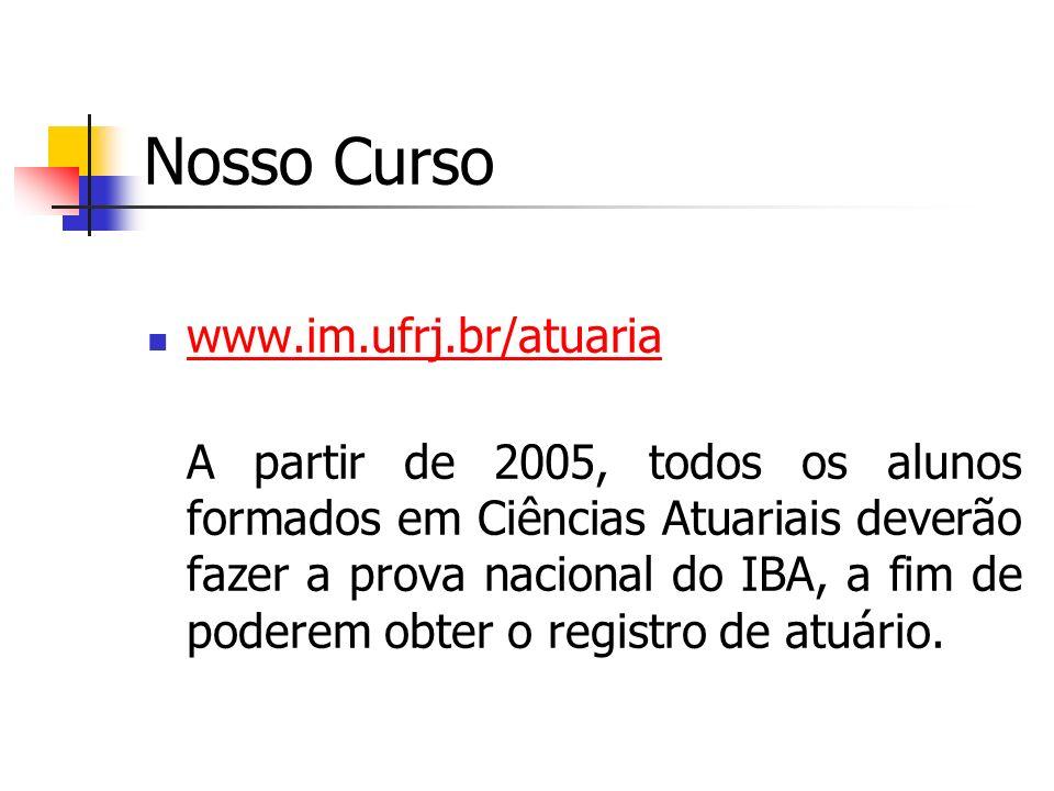 Nosso Curso www.im.ufrj.br/atuaria