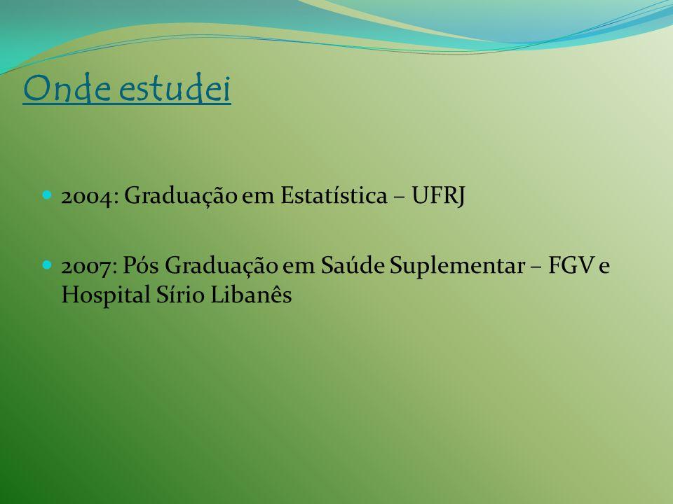 Onde estudei 2004: Graduação em Estatística – UFRJ