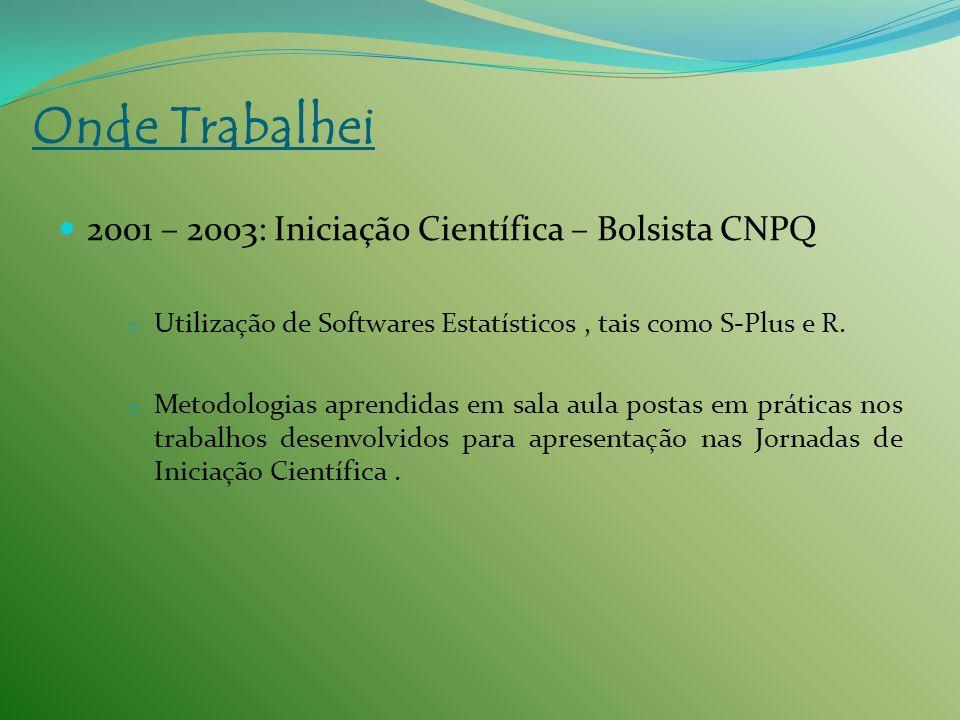 Onde Trabalhei 2001 – 2003: Iniciação Científica – Bolsista CNPQ