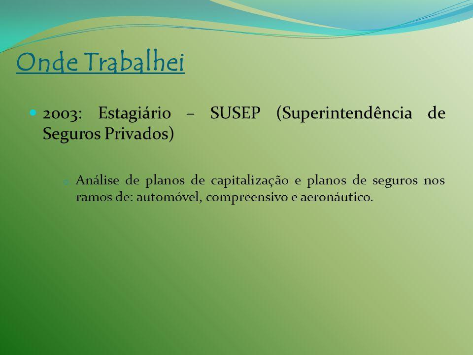 Onde Trabalhei 2003: Estagiário – SUSEP (Superintendência de Seguros Privados)