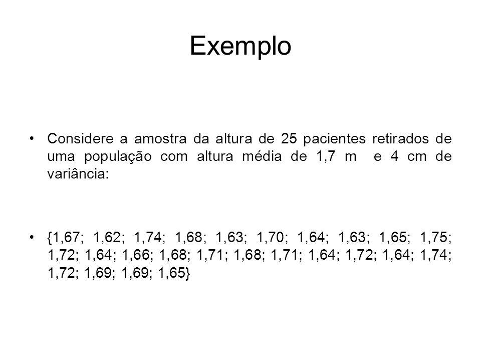 Exemplo Considere a amostra da altura de 25 pacientes retirados de uma população com altura média de 1,7 m e 4 cm de variância: