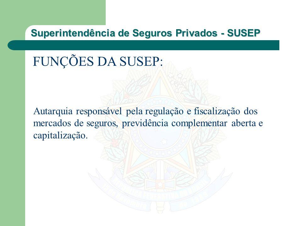 FUNÇÕES DA SUSEP: Autarquia responsável pela regulação e fiscalização dos mercados de seguros, previdência complementar aberta e capitalização.