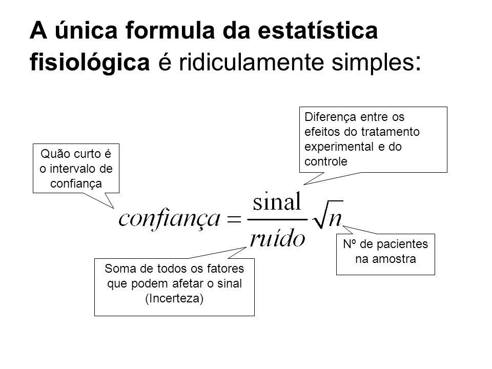 A única formula da estatística fisiológica é ridiculamente simples: