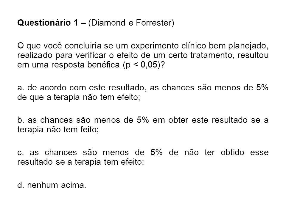 Questionário 1 – (Diamond e Forrester)
