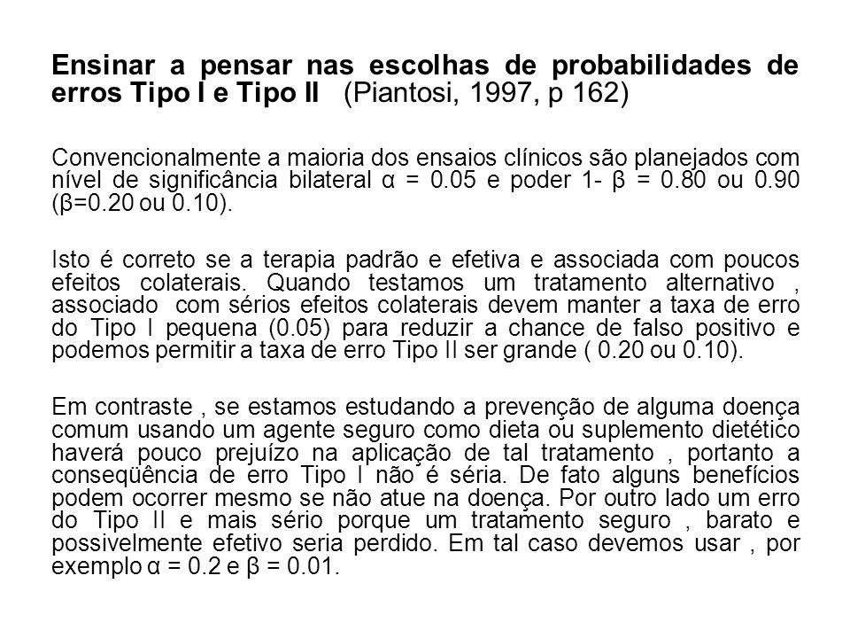 Ensinar a pensar nas escolhas de probabilidades de erros Tipo I e Tipo II (Piantosi, 1997, p 162)