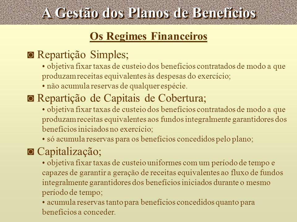 A Gestão dos Planos de Benefícios Os Regimes Financeiros