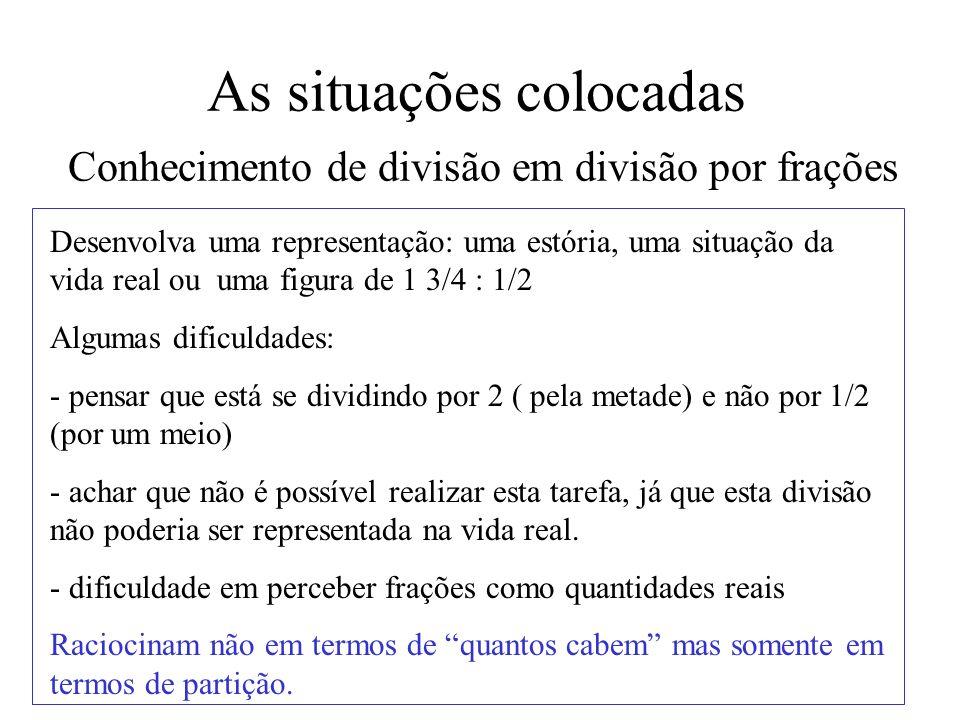 As situações colocadas Conhecimento de divisão em divisão por frações