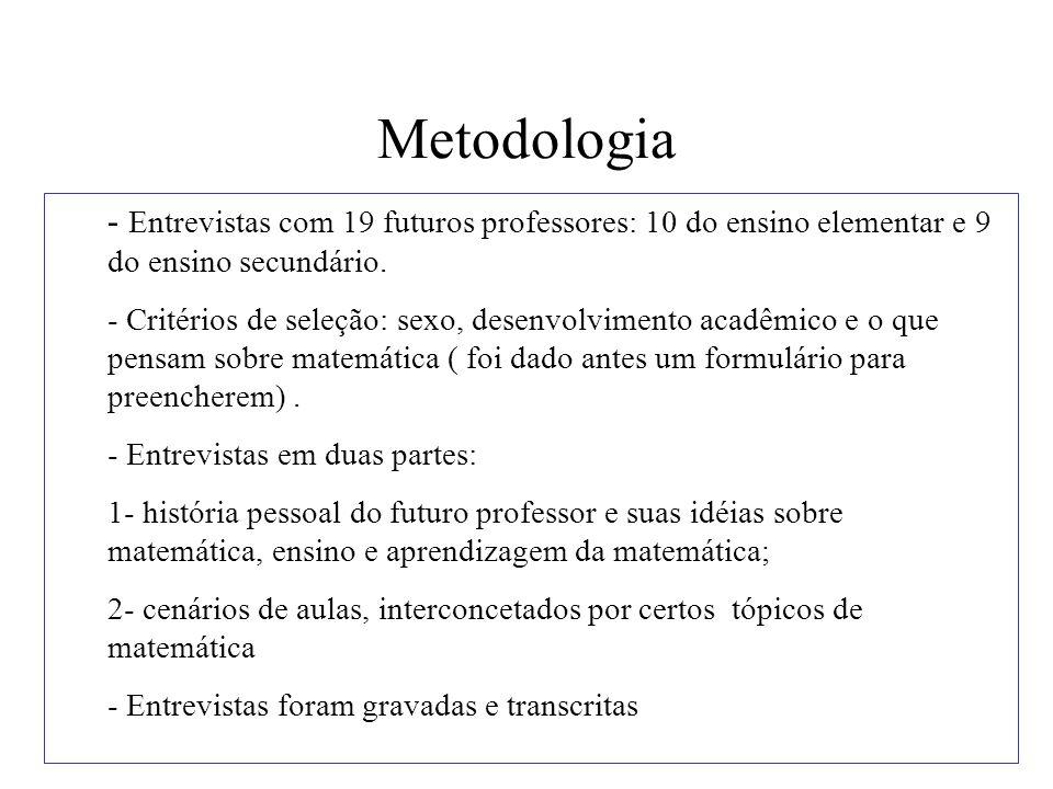 Metodologia - Entrevistas com 19 futuros professores: 10 do ensino elementar e 9 do ensino secundário.