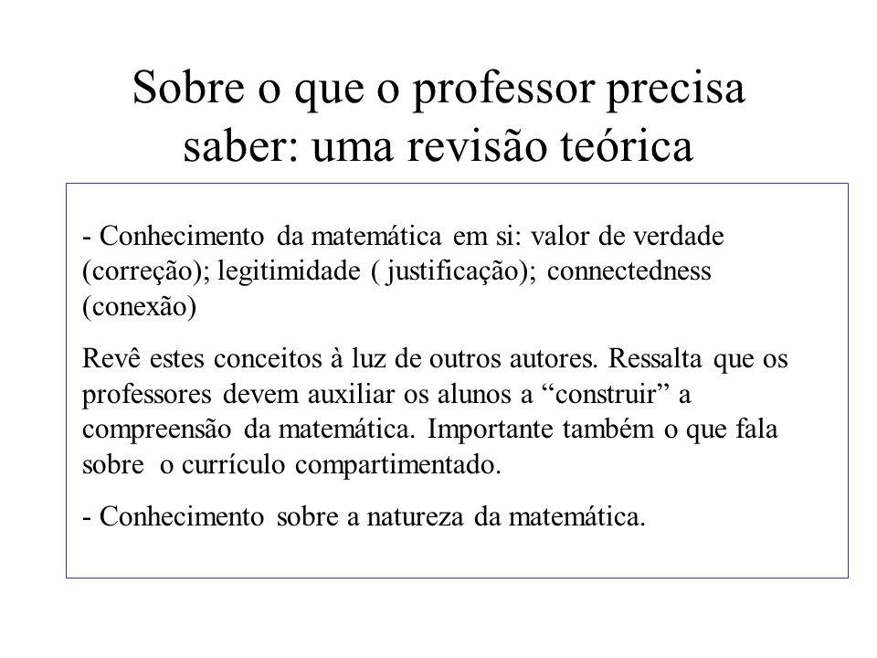 Sobre o que o professor precisa saber: uma revisão teórica