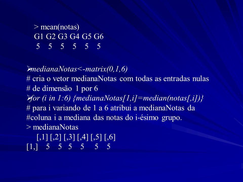 > mean(notas) G1 G2 G3 G4 G5 G6. 5 5 5 5 5 5. medianaNotas<-matrix(0,1,6) # cria o vetor medianaNotas com todas as entradas nulas.