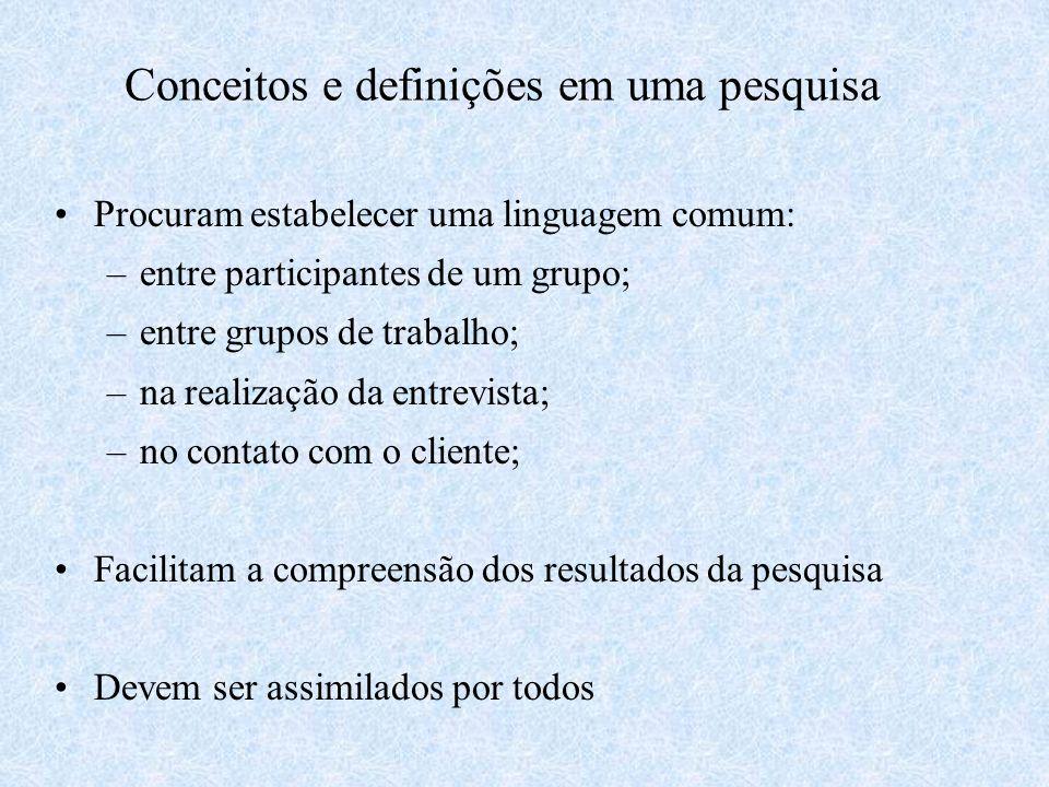 Conceitos e definições em uma pesquisa