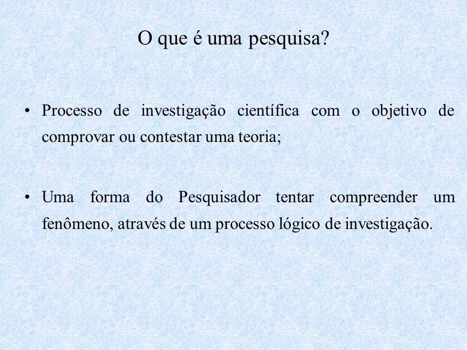 O que é uma pesquisa Processo de investigação científica com o objetivo de comprovar ou contestar uma teoria;