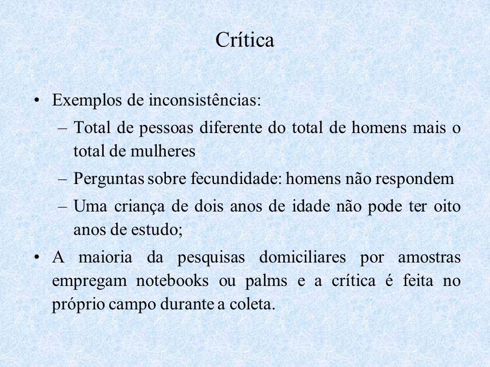 Crítica Exemplos de inconsistências: