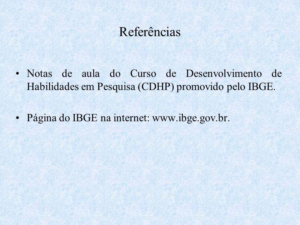 Referências Notas de aula do Curso de Desenvolvimento de Habilidades em Pesquisa (CDHP) promovido pelo IBGE.