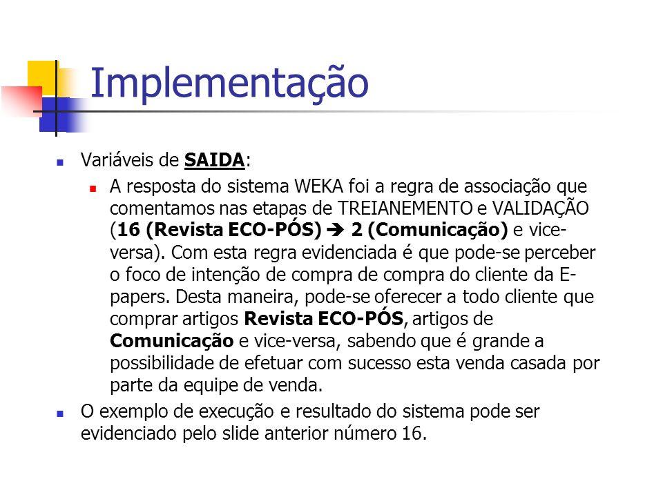 Implementação Variáveis de SAIDA: