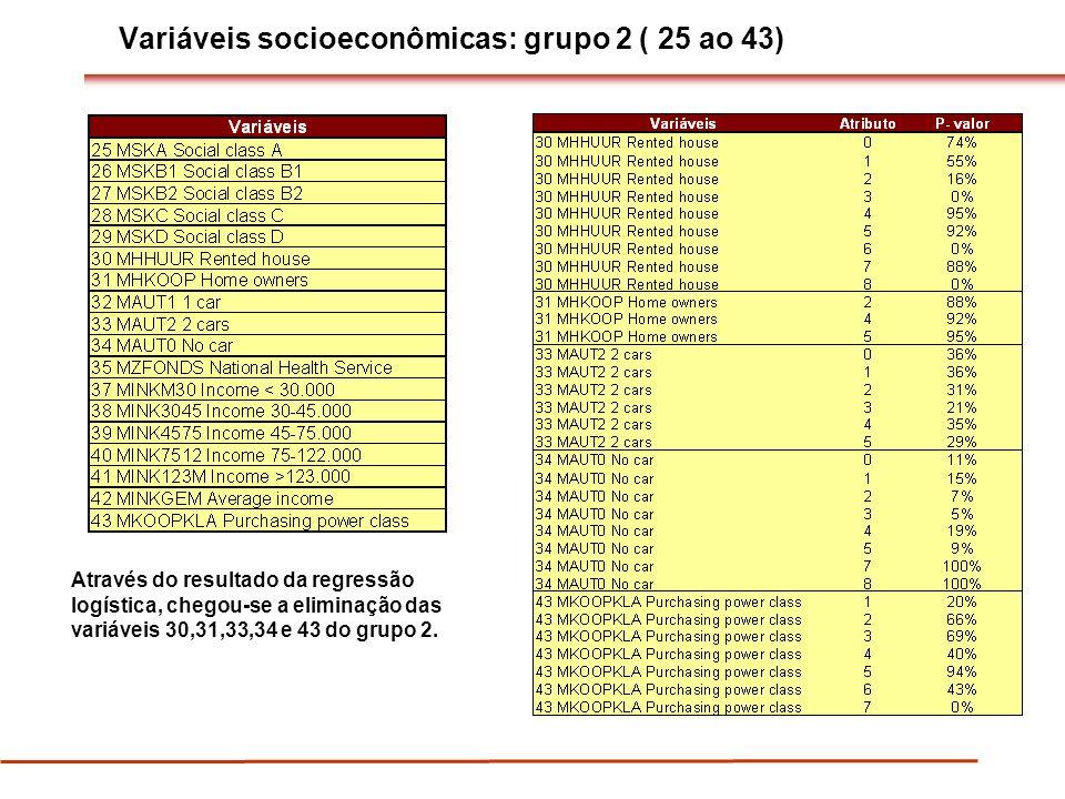 Variáveis socioeconômicas: grupo 2 ( 25 ao 43)