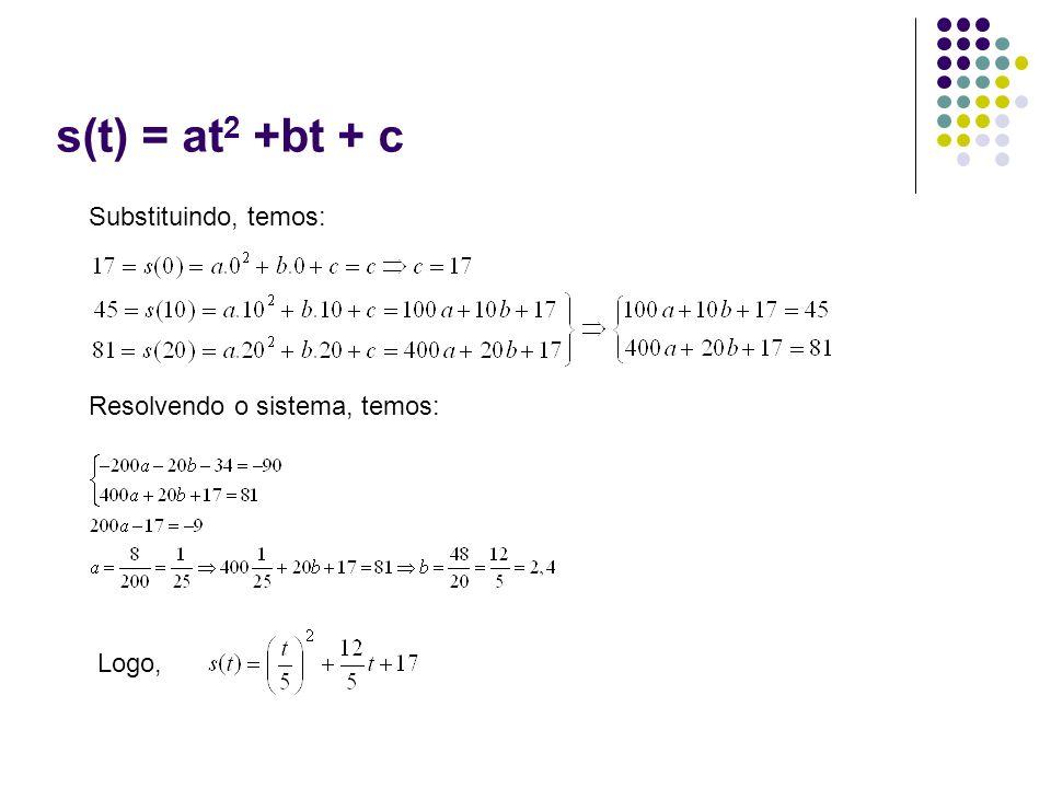 s(t) = at2 +bt + c Substituindo, temos: Resolvendo o sistema, temos: