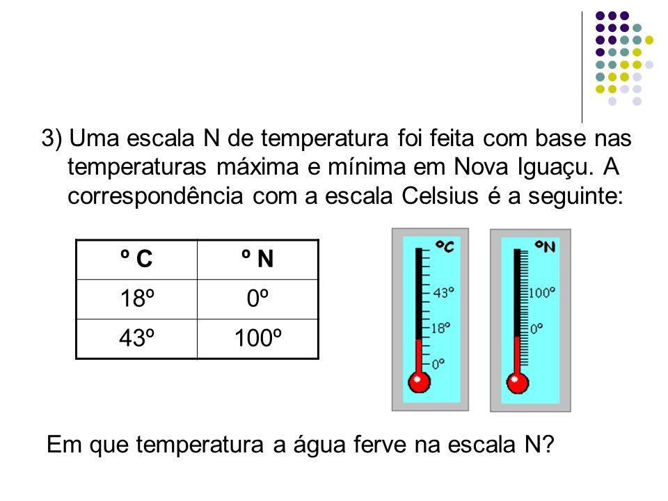 3) Uma escala N de temperatura foi feita com base nas temperaturas máxima e mínima em Nova Iguaçu. A correspondência com a escala Celsius é a seguinte:
