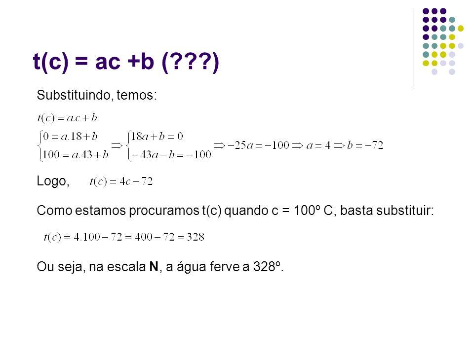 t(c) = ac +b ( ) Substituindo, temos: Logo,
