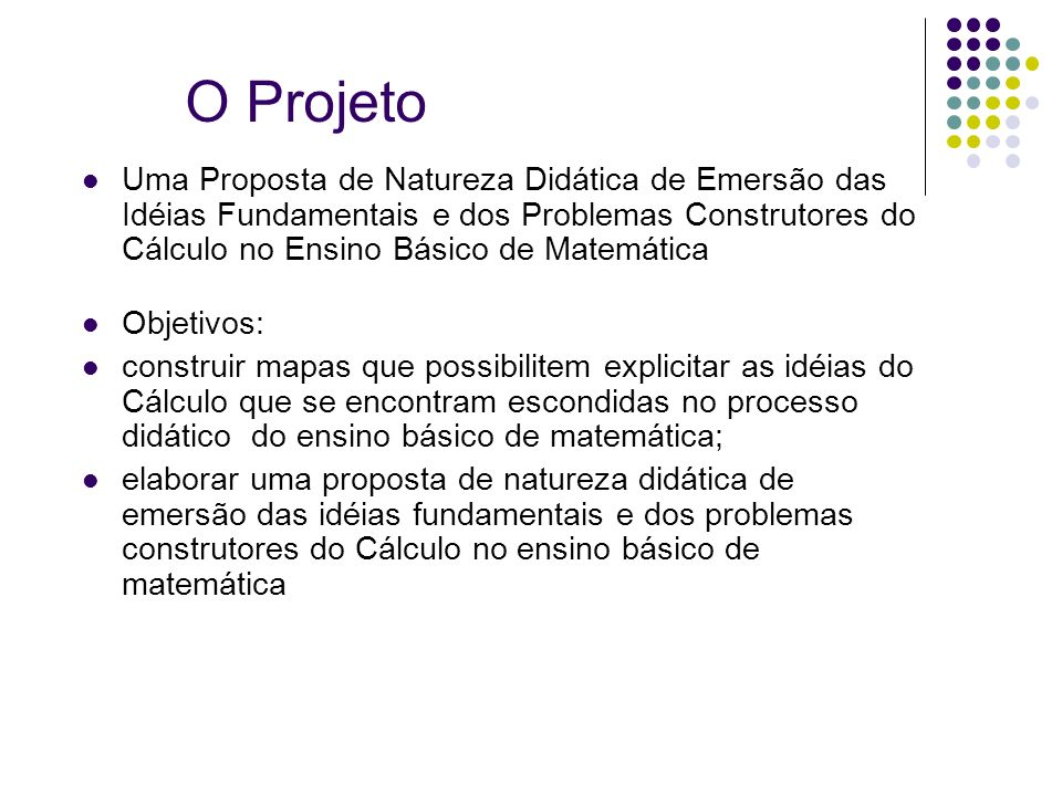 O Projeto Uma Proposta de Natureza Didática de Emersão das Idéias Fundamentais e dos Problemas Construtores do Cálculo no Ensino Básico de Matemática.