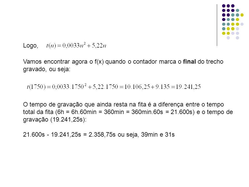 Logo,Vamos encontrar agora o f(x) quando o contador marca o final do trecho gravado, ou seja: