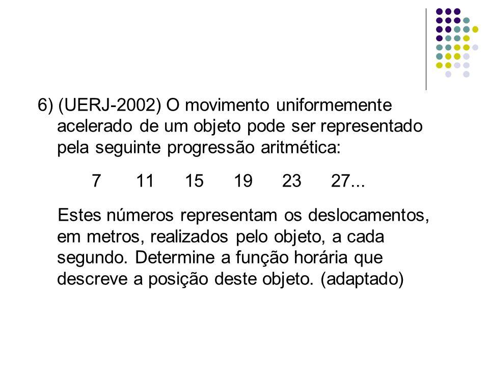 6) (UERJ-2002) O movimento uniformemente acelerado de um objeto pode ser representado pela seguinte progressão aritmética: