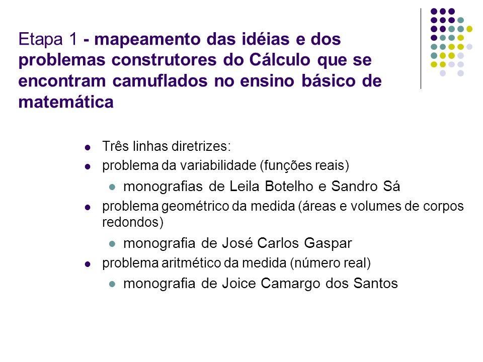 Etapa 1 - mapeamento das idéias e dos problemas construtores do Cálculo que se encontram camuflados no ensino básico de matemática
