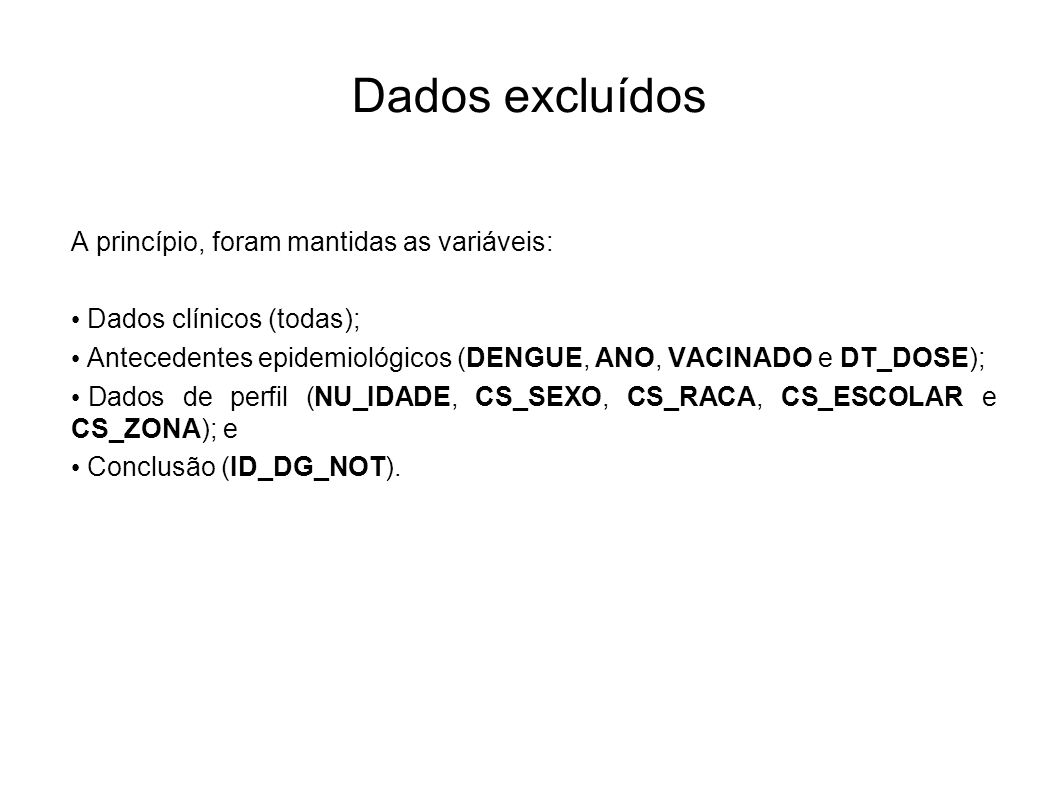 Dados excluídos A princípio, foram mantidas as variáveis: