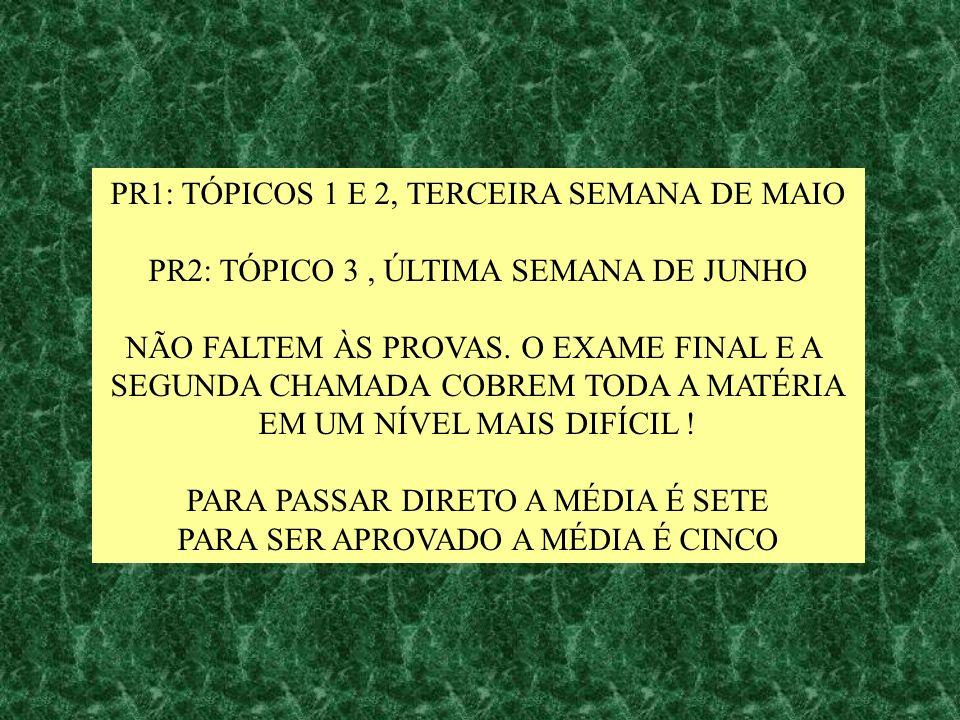 PR1: TÓPICOS 1 E 2, TERCEIRA SEMANA DE MAIO