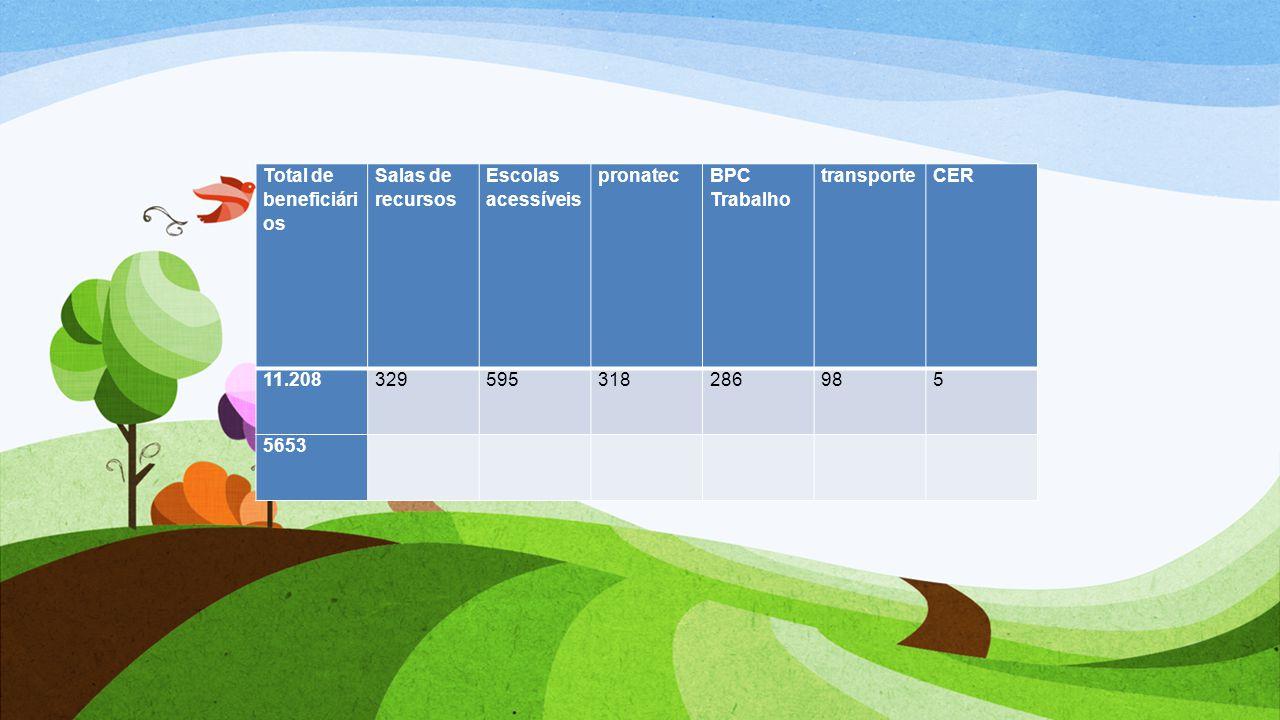 Total de beneficiários Salas de recursos Escolas acessíveis pronatec