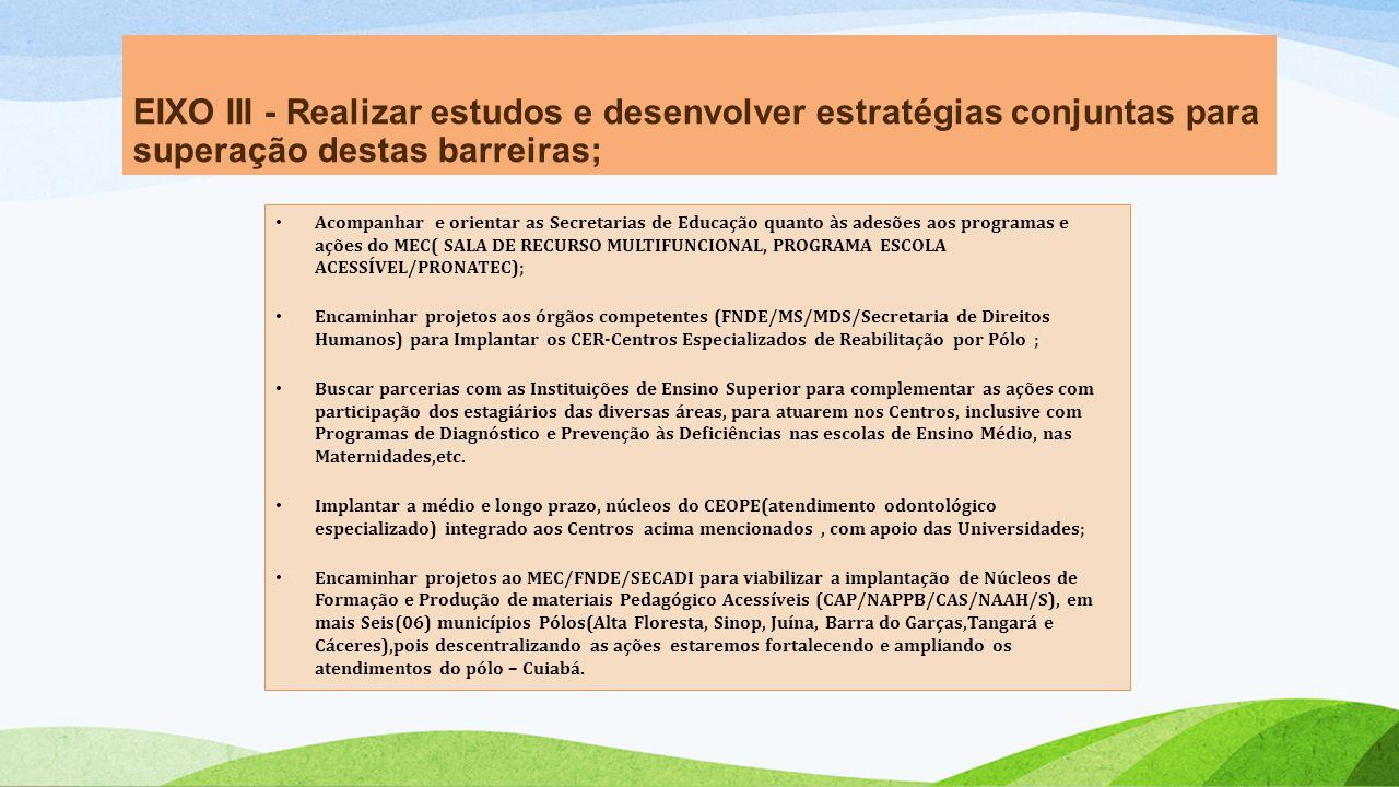 EIXO III - Realizar estudos e desenvolver estratégias conjuntas para superação destas barreiras;