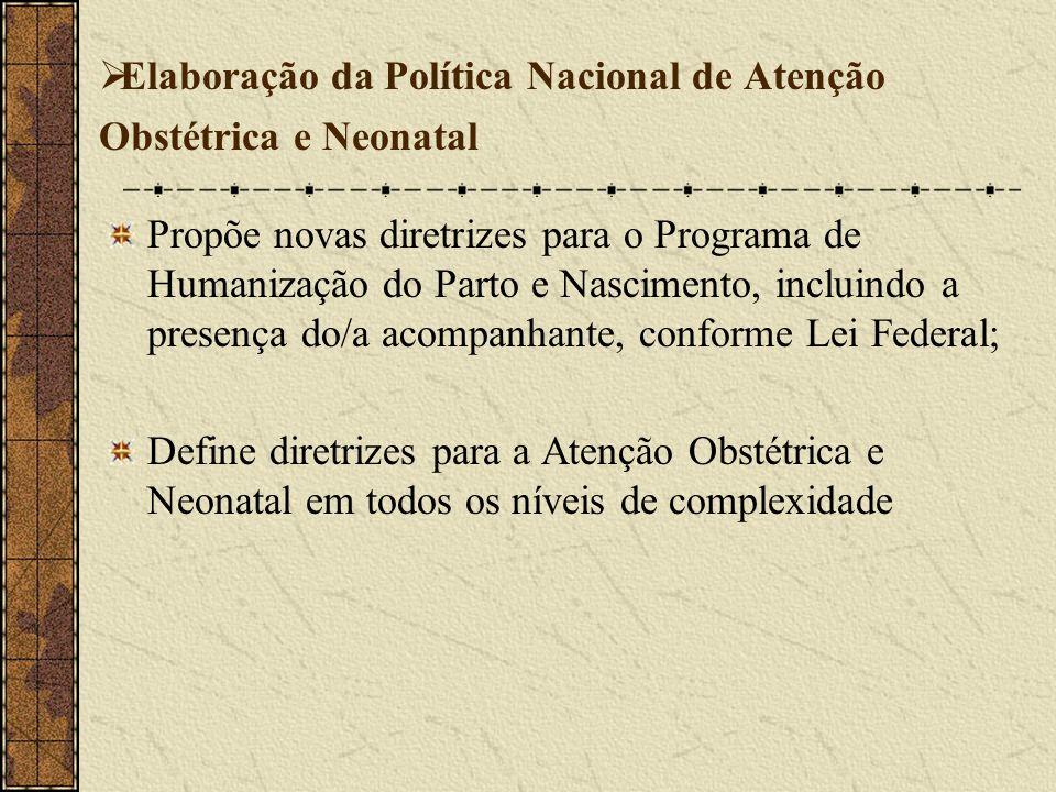Elaboração da Política Nacional de Atenção Obstétrica e Neonatal