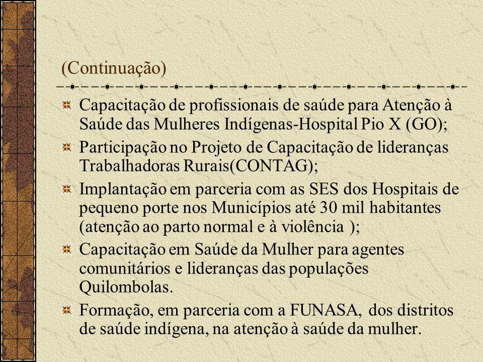 (Continuação) Capacitação de profissionais de saúde para Atenção à Saúde das Mulheres Indígenas-Hospital Pio X (GO);