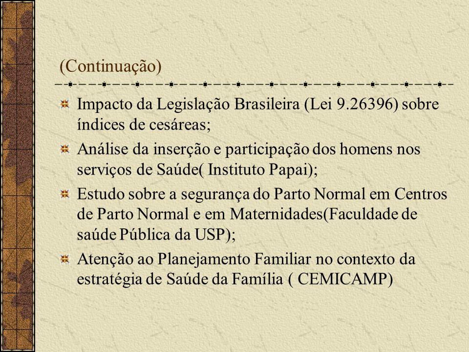(Continuação) Impacto da Legislação Brasileira (Lei 9.26396) sobre índices de cesáreas;