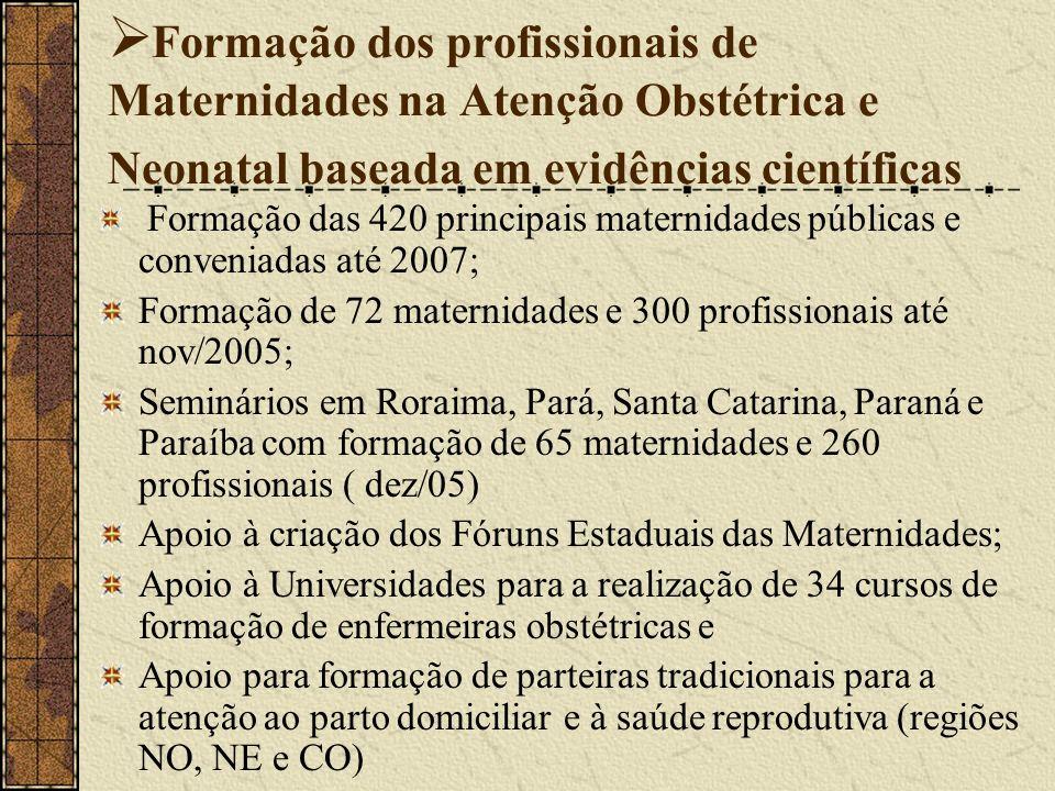 Formação dos profissionais de Maternidades na Atenção Obstétrica e Neonatal baseada em evidências científicas