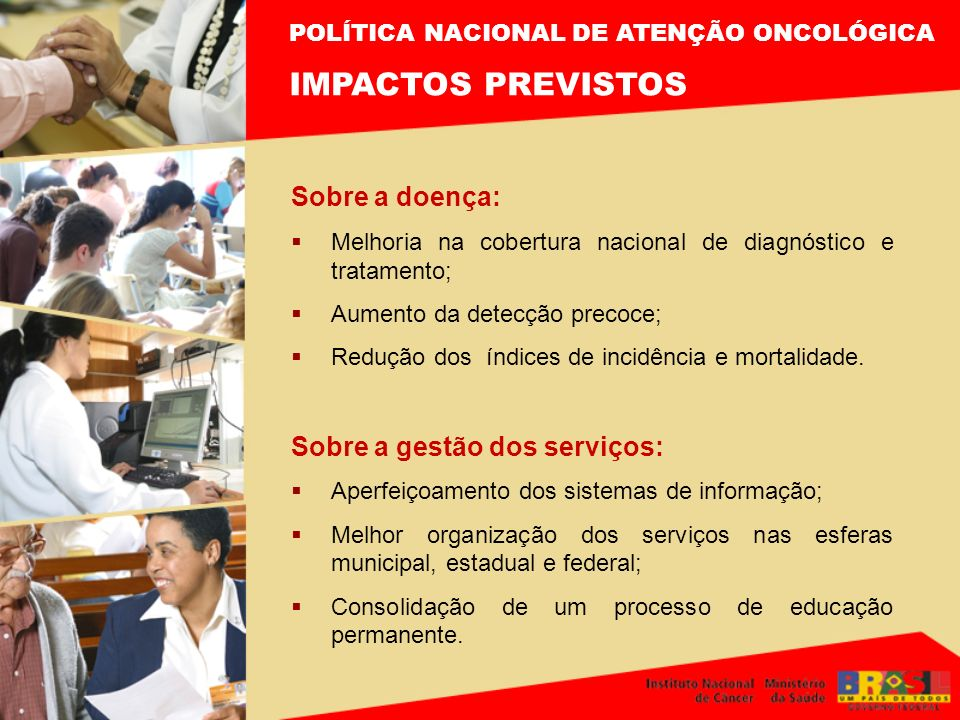 IMPACTOS PREVISTOS Sobre a doença: Sobre a gestão dos serviços: