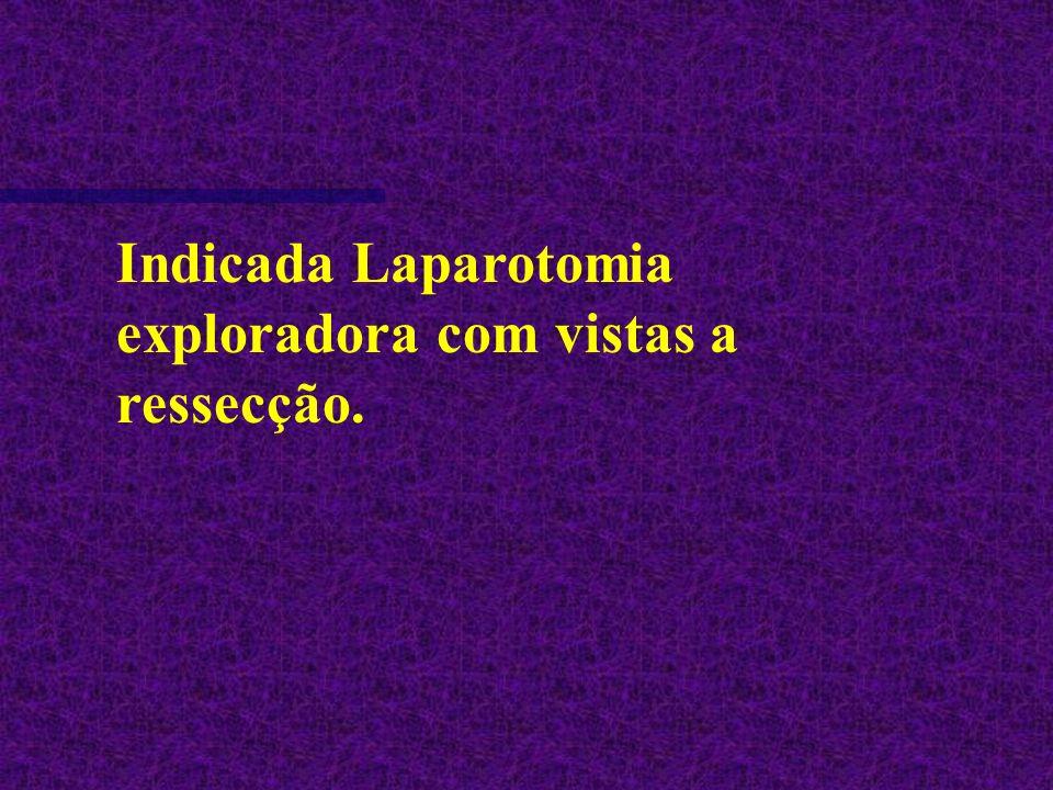 Indicada Laparotomia exploradora com vistas a ressecção.