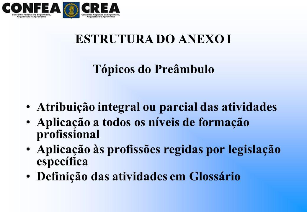 ESTRUTURA DO ANEXO I Tópicos do Preâmbulo. Atribuição integral ou parcial das atividades. Aplicação a todos os níveis de formação profissional.