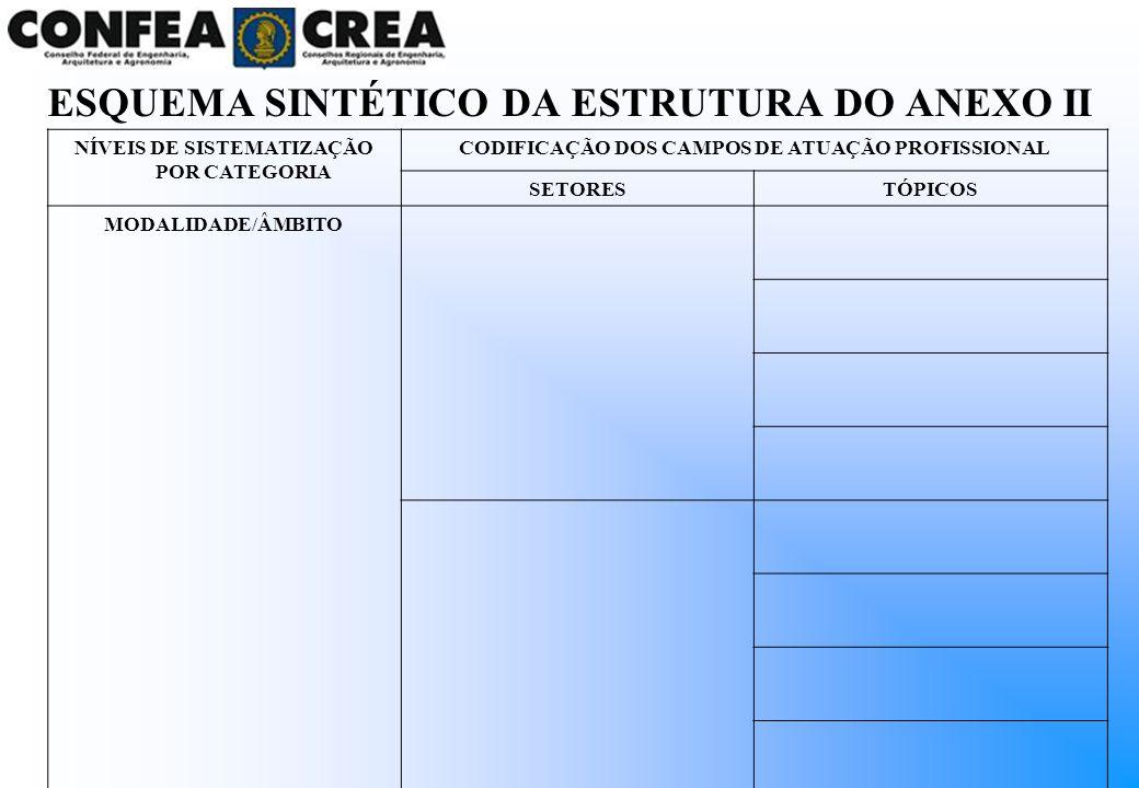 ESQUEMA SINTÉTICO DA ESTRUTURA DO ANEXO II