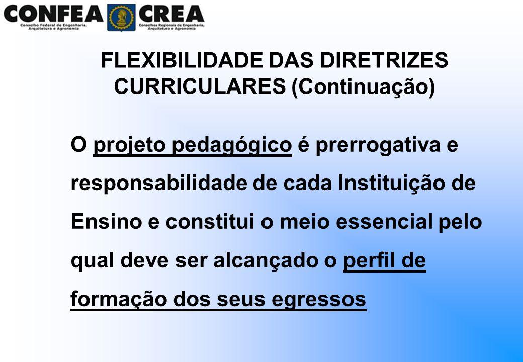 FLEXIBILIDADE DAS DIRETRIZES CURRICULARES (Continuação)